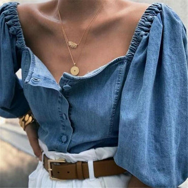 Denim Crop Top Off Shoulder Tops