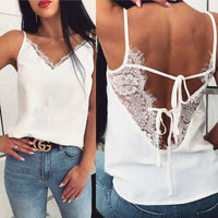 Satin Silk Lace Tank Tops