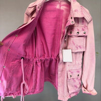 Pink Lace Up Zippers Denim Jacket