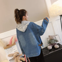 Loose Hooded Casual Long Sleeve Denim Jacket