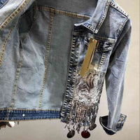 Tassel Sequins Chains Denim Jacket