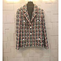 Retro Plaid Long Sleeve Woven Sequins Fashion Elegant Jackets & Coats