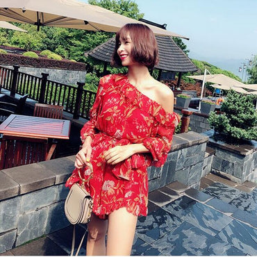 Flower Print One Shoulder Sexy Ruffle Jumpsuits
