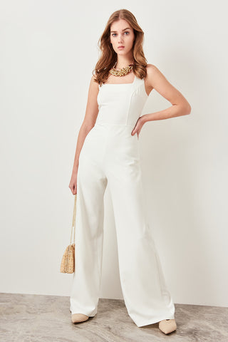 White Basic Loose Hip hop Office Jumpsuits