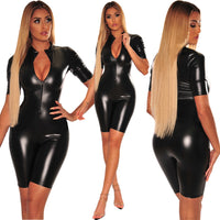 PU Leather Short Sleeve Bodycon Casual Jumpsuits