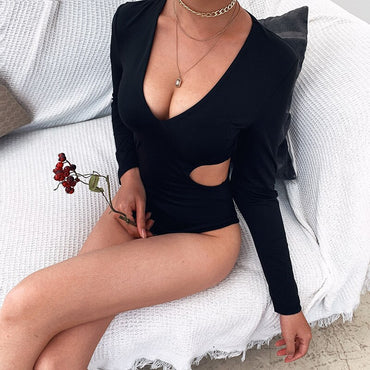 Cutout Deep V Neck Bodycon Long Sleeve Spandex Bodysuit