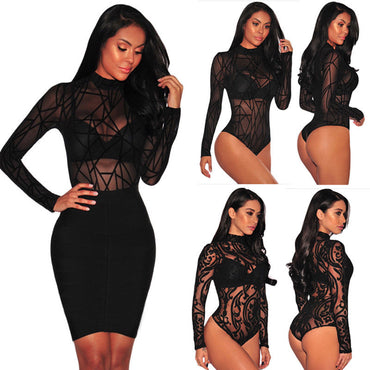 Mesh Fish Net Slim Bodysuit