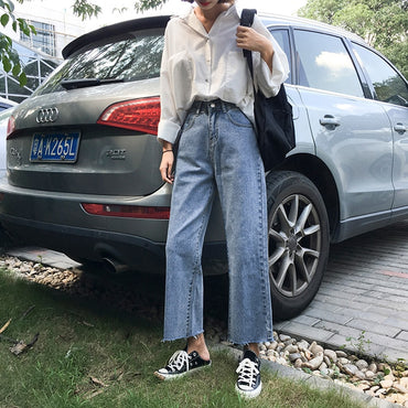Trendy Retro Solid High Waist Korean Style Streetwear Soft Loose jeans