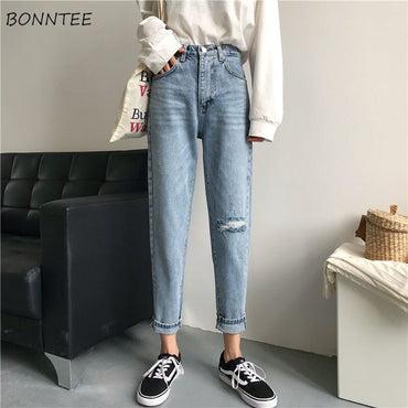Trendy Simple All-match Loose Korean Style Ulzzang Hole jeans