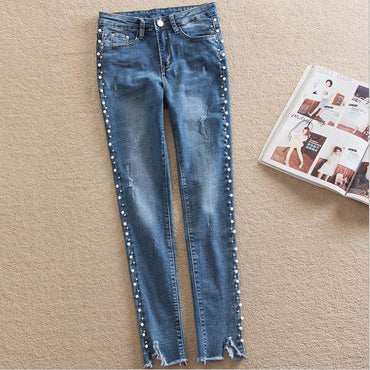 Pearl Beading Ripped Jeans