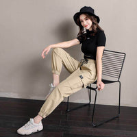 cotton linen elastic high waist  pants