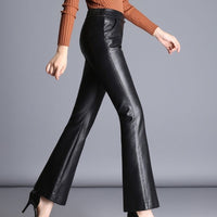 Sheepskin Leather Flare Pants
