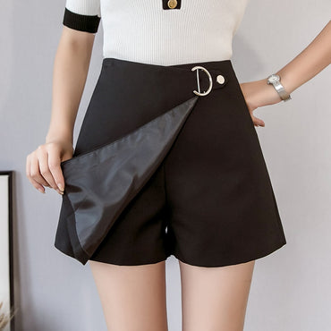 High Waist Wide Leg Elegant Office  Irregular Mini Shorts Skirts
