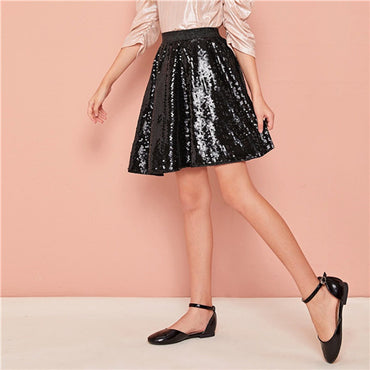 Kiddie Black Solid Sequins Skater Girls Glamorous Skirt