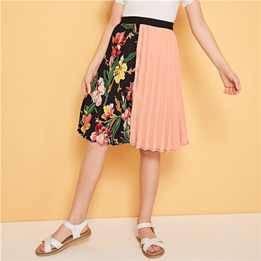 Cut-And-Sew Botanical Print Pleated Casual Skirt