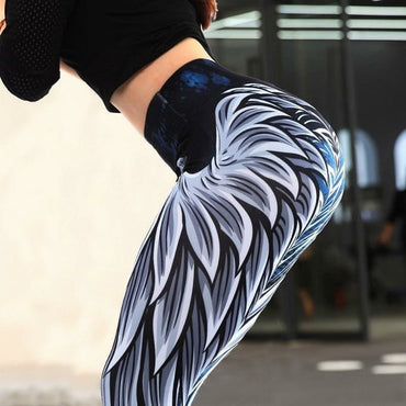 Angel wings printed High waist elastic Slim workout pants Casual Plus Size Fintess Legging