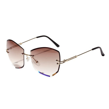 Rimless Cat Eye Diamond-shaped Sunglasses