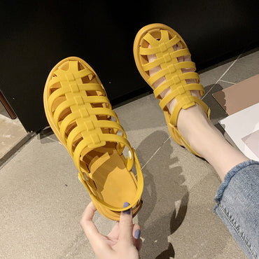 Slippers PU Button Non Slip Flat Shoes
