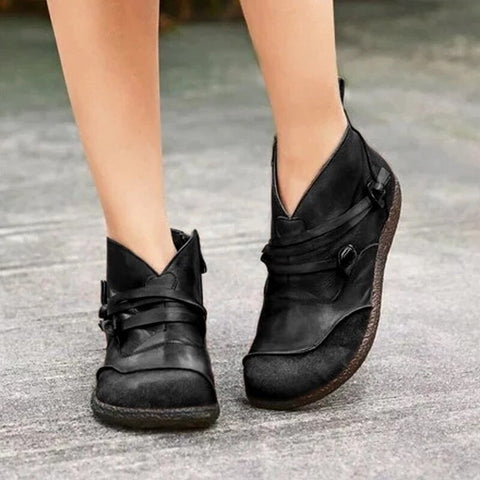 Ankle Boots Vintage Side Zipper Flat Shoes