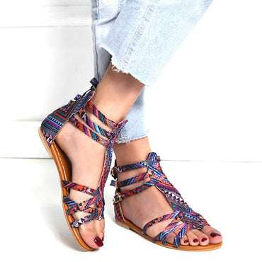 Open Toe National Wind Embroider Flat Shoes