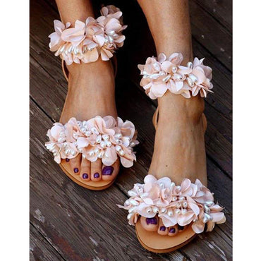 Flowers Handmade Beaded Rhinestones Pearl Sandals