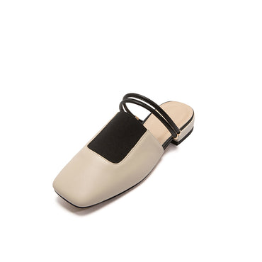 Concise Wedding Casual Narrow Band Square Toe Slip-On Sandals