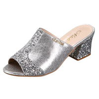 Slip On Peep Toe Crystal Slipper Casual Sandals