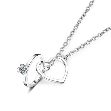 Charming 925 Sterling Silver Double Circle Heart Zircon Necklace