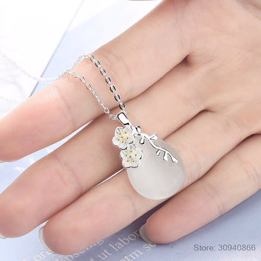 Love Angle Tear Moonlight Opal Blossom Cherry Flower Pendant Neckace