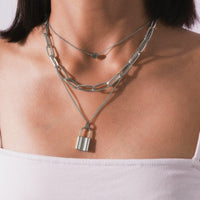 Metal Gold Multi-layer Lock Love Necklace