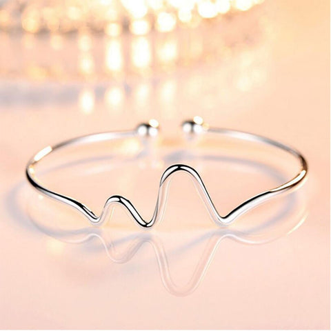 Sterling Silver ECG Heartbeat Cuff Bracelet & Bangle