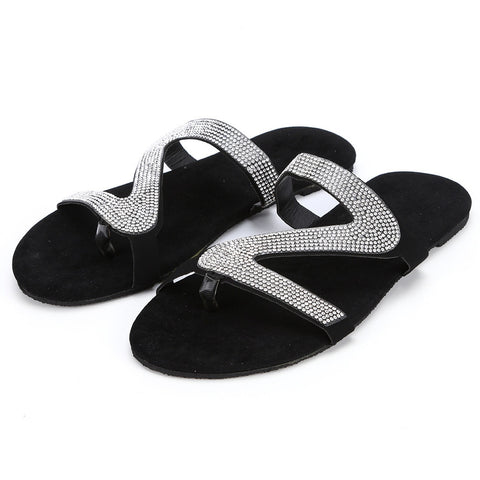 Casual Solid Crystal Roman Flat Shoes