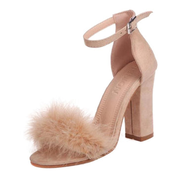 Gladiator Pumps Plus Size Buckle Strap Fur Flock Leather Thick Heel