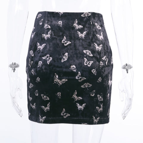 Butterfly Embroidery High Waist Mini Black Skirts