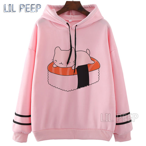 Casual Hoodies O-Neck White Pink Hoodies