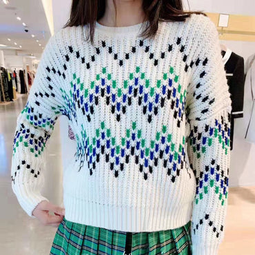 O Neck Jacquard Contrast Color Long-sleeve Sweaters