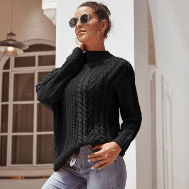 Long Sleeve Top Sweater Pullover Loose Solid Kintted Sweater