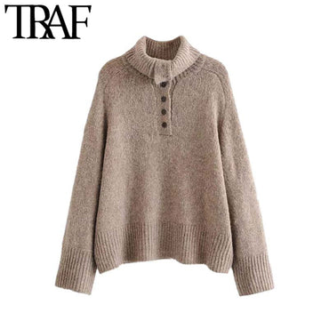 Vintage Stylish Turtleneck Buttons Knitted Sweater