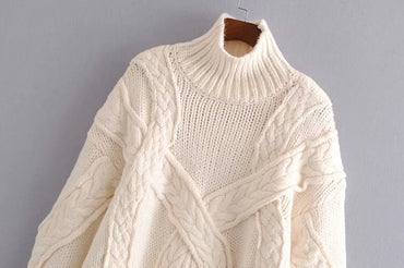 Vintage Stylish Oversized Cable Knitted Sweater