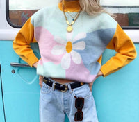 Chic Flower Print Multi Color Block High Neck Pullover sweaters