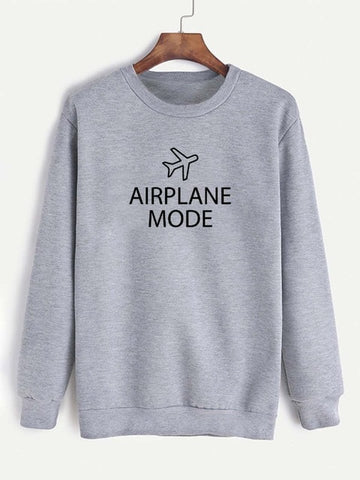 Sweatshirt Airplane Mode Printed Funny Long Sleeve Casual Cotton Hoodies
