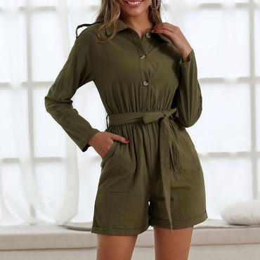 Army Green Shorts Casual Lace-Up Rompers