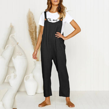 Overalls Loose Pocket Wide Leg Romper