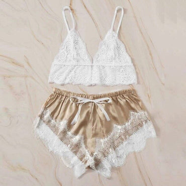 Lace Wireless Bra Camisole Satin Shorts Set Sleepwear