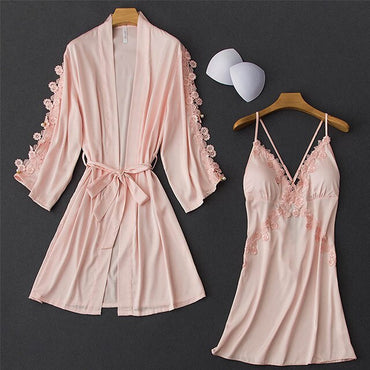Solid Color Nightgown Silk Satin Backless Sexy Lace Sleepwear