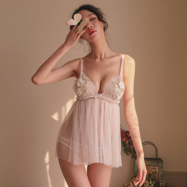 Sexy Embroidery Applique Mesh Night Dress V Neck Camis Temptation Lingerie Mini Dress Black White Sleepwear