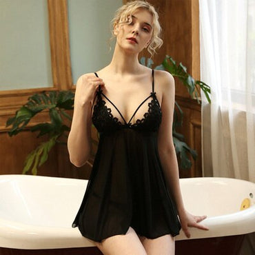 Sexy French Sling Openwork Bow Gather sleepwear