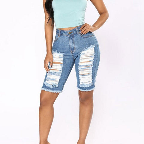 High Waists Fur-lined Leg-openings Plus  Knee  Length Jeans