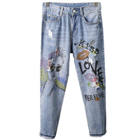 Printed painted hole jeans