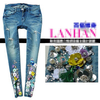 diamond flowers holes jeans